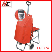 small quantity wholesale and custom red trolley shopping bags with chair puller cooler cart