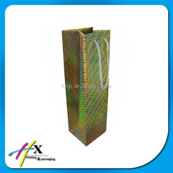 Shiny single wine bottle paper bag with attractive design