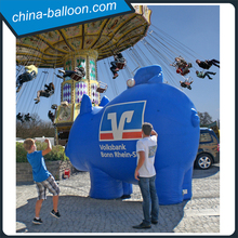 Giant blue inflatable pig for ball game/ amazing inflatable basketball toss pig for fun