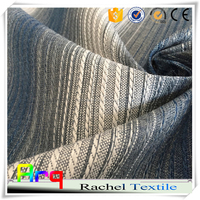 wholesale cotton chenille fabric fabric chenille's black and white stripe fabric 99% blackout for curtain cushion