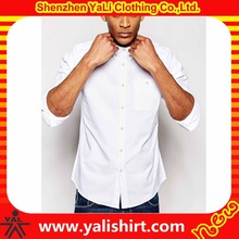 Wholesale classic cheap formal cotton oxford long sleeve chest pocket button down white dress shirts