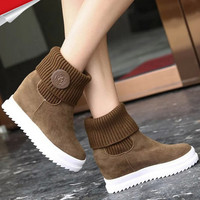 W91869A 2015 new fashion women winter thick sole warm height increase shoes