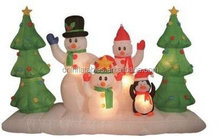8 Foot Long Inflatable Snowmen Family with Pet Penguin Around Christmas Trees