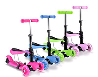 new design 3 in 1 Mini micro kick scooters with high adjustable seat and bar handle ,three PU wheels foot scooter