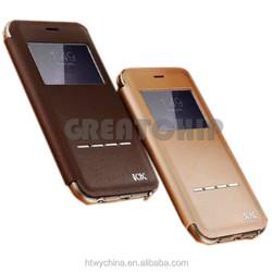 2015 wholesale Aluminum bumper+flip genuine leather Case For Iphone 6/ for iphone 6 plus