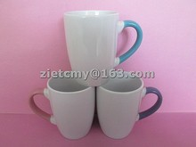 bulk personalized porcelain mug with colored handle for promotion