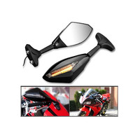 Black Motorcycle rearview mirror Motorcycle LED Turn Signal Lights Indicators Rear View Side Racing Rearview Mirrors