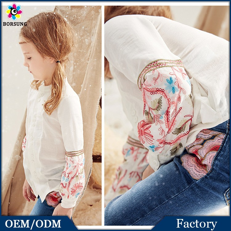 Factory Price !!! Chiffon Kids Girls Shirts Long Sleeve Embroidered Fashion Blouses 2015