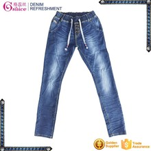 High quality sexy jeans pants elastic waist girl's high waisted skinny stretch jeans