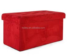 Bailey microfiber red folding storage ottoman