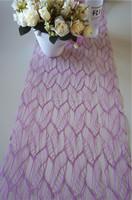 popular violet leaf poly mesh fabric floral wrap/table runner