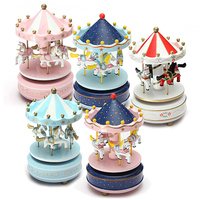 Hot Sale Romantic Love Gift Bless Animated Luxury Go Round Carousels Party Wedding Musical Swings Box 4 Horses