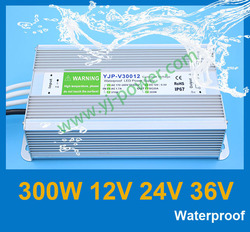 DHL/Fedex free shipping led waterproof power supply 12v 300w led power waterproof 12v IP67 YJP-V30012 RoHS,CE,IP67