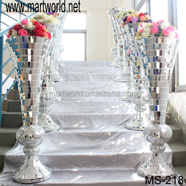 Bling Mirror Glass Surface Wedding Column Pillar Walkway Stand For Wedding DecorationMS 218