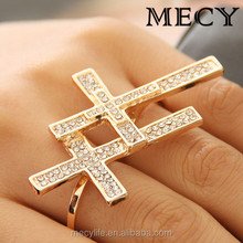 MECY LIFE Alibaba hot selling fashion inlaid two rows zircons good price cross double rings