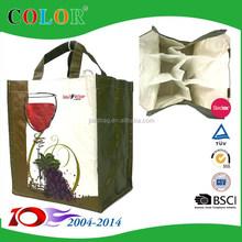 Sedex audit factory pp woven 6 bottle wine bag