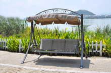 outdoor three seats swing chair with stable steel frame (S0532T), garden swing hanging chair with canopy (S0532T)
