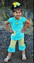 2015 High quality summer boutique clothing set aqua toddler girls shorts ruffle buttoms short sleeve baby chevron clothes