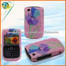 For Blackberry Curve 8520/9300/8530 Flower full Diamond Rhinestone cell phone case