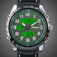 INFANTRY Mens Chronograph Army Sport Dual Movement Alarm Timer Wrist Black Leather Glow in Dark Watch Set
