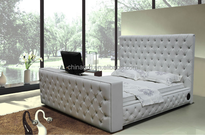 Alibaba Tufted Designs King Size Leather Bed With Tv In Footboard ...