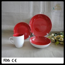 16pcs round shape double glazed stoneware dinner set , colorful dinnerset