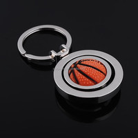Exquisite fashion creative thinking of advertisement and gift Rubber metal spinning basketball key chain