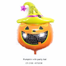 Pumpkin with party hat foil balloons Halloween props China