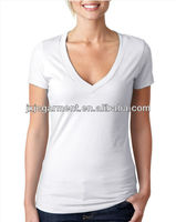 T shirt Design Beautiful Short Sleeve deep v neck women blank T shirts