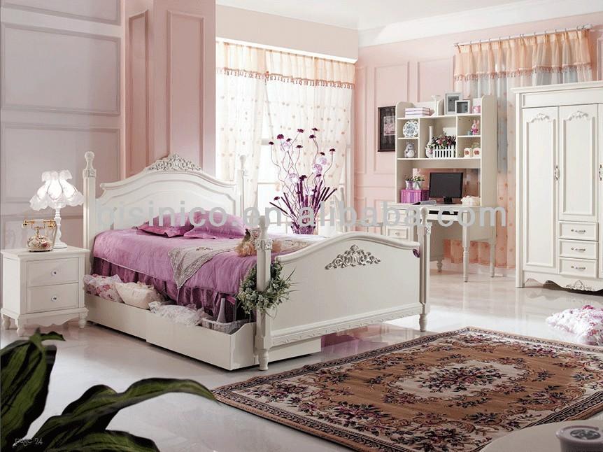 Pure White Design Kid Bedroom Furniture Wood Carved Children Bedroom Set Solid Wood Bed With