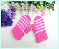 Multicolor striped magic gloves knitting pattern kids