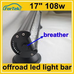 top quality IP68 offroad 3w cree led light bar 17 inch 108w with military breather