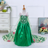 Halloween costumes wholesale in china high quality floor-length lace flower fancy dress beaded girl long dress 2015 BX1680