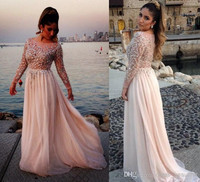 2014 Oscar Elie Saab Sexy Long Sleeve Prom Dresses Sheer Beads Lace Appliques Chiffon Cheap Long Sleeve Evening Gowns 2014 Prom