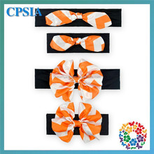 Black Bands With Orange white Strip Messy Bow Headband Headwrap in Orange for Girls, Babies and Toddlers