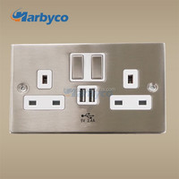 USB electric Socket Switch with Brushed finshed 5V 2.4A