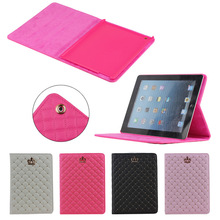 2015 Hot Selling Grid Leather Case for iPad 2/3/4 with Stand Function