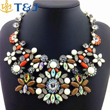 >>>New Arrival Design Charm Luxurious Fashion Necklace Iridescence Resin And Crystal Chunky Choker Necklace/