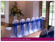 Hot Sell Fancy Beautiful Organza Chair Sashes for Wedding Chair