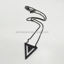 "Fashion jewelry metal necklace lacquer triangle&hollow ""V""shaped pendant Necklaceblack&gold&silver metal thin chain"