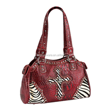 WOMEN'S ZEBRA STUDDED CROSS SATCHEL BAG BY MOYI