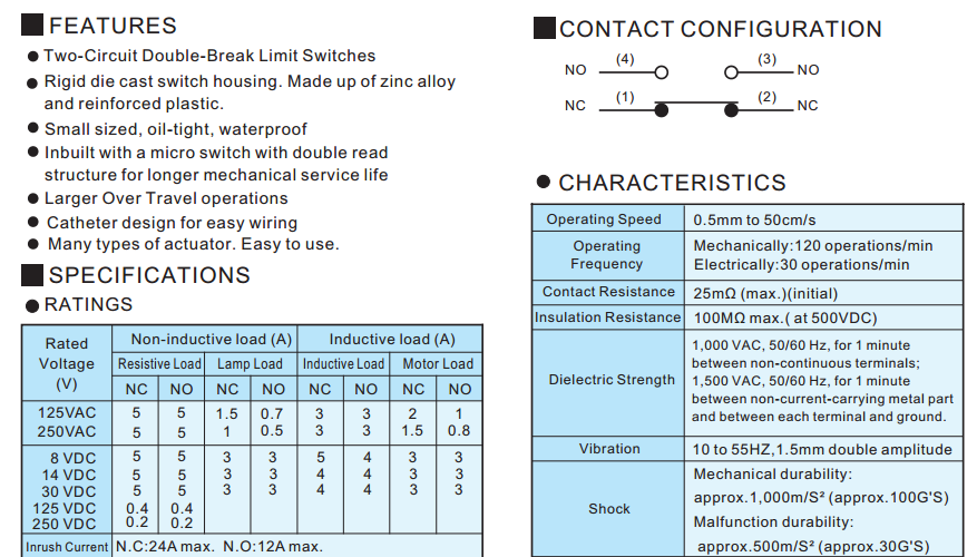 Many Types Of Actuator Two Circuit Double Break Tend Brand Tz 1166