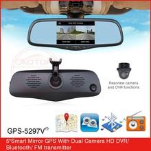 Built-in dual hi-fi speakers car mirror with GPS/HD DVR/Bluetooth/FM Transmitter