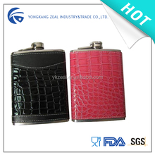 zeal 8oz usa hot sale PU leather stainless steel hip flask HF2008