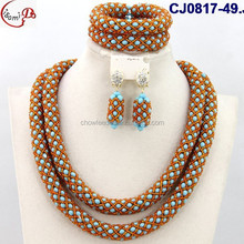 CJ0817-49 color blue and Brandy hot saling high quality two circle/loop African fashion with brooch decoration jewelry