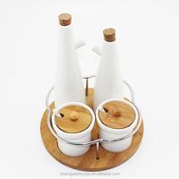 ceramic kitchen canister for oil,vinegar,peper,salt,sugar,spice jars set with bamboo rack