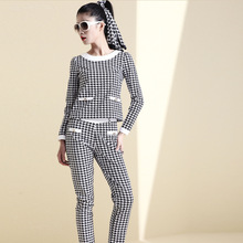 Europe station new cotton piece fitted fashion casual pants suit women's Ruili swing birds grid professional package
