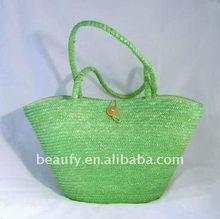 green summer straw beach bag for women