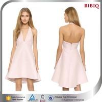 New Design V Neck Pink Backless Halter Short Evening Dress