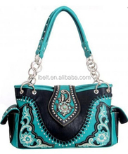 Western Aztec collection satchel floral embroidery handbag